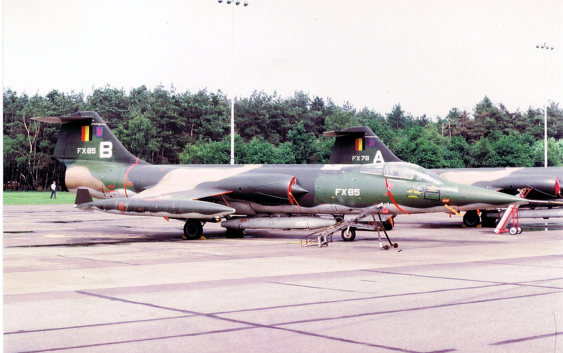 F 104 FX65 And FX78 With White Codes B And A On Tail And Recce Pod