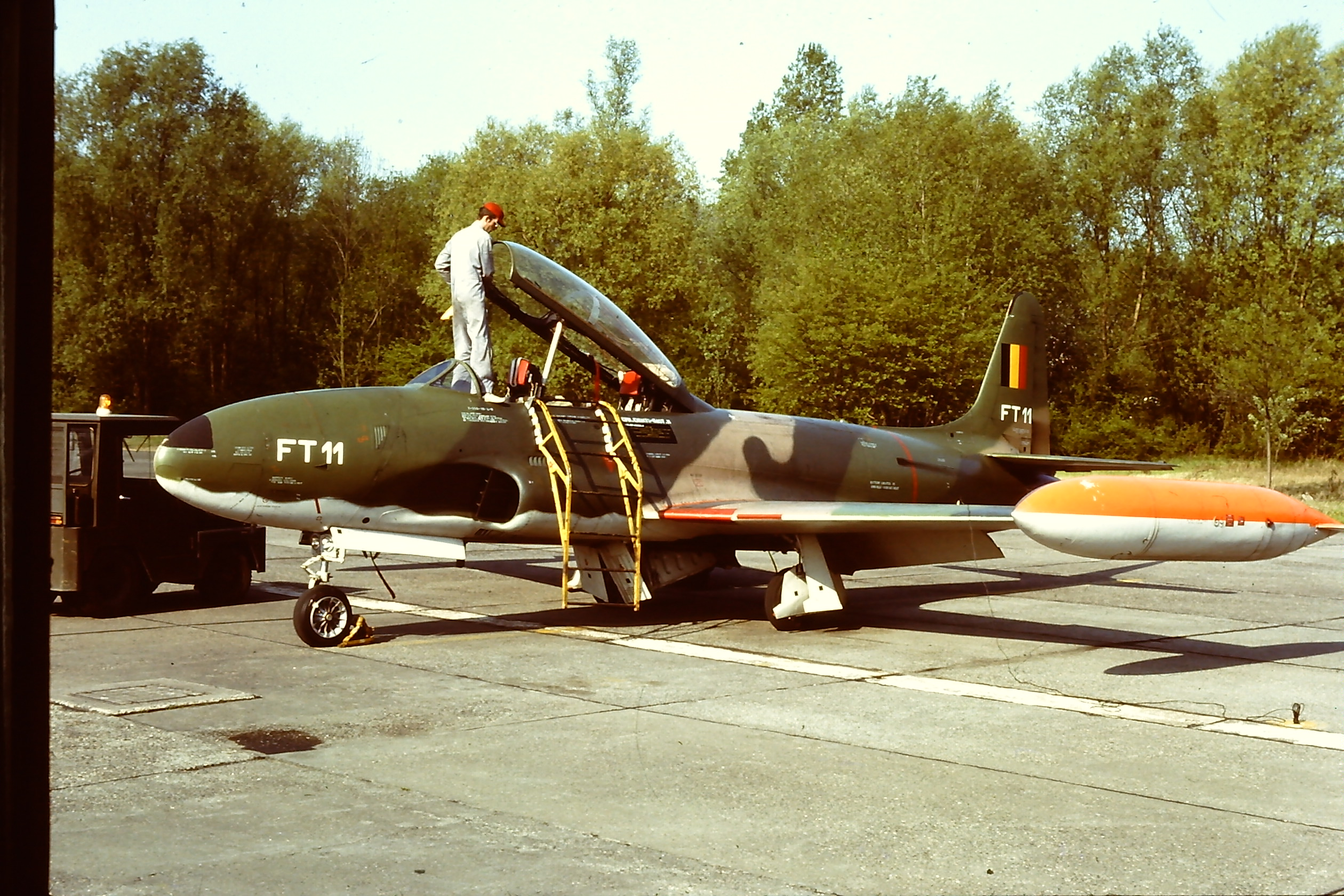 T 33 FT11 On Flight Line At Maintenance Camou Paint And Dayglo